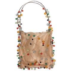 Bottega Veneta Colorful  Beads Sculptural Organza Minaudieré Bag