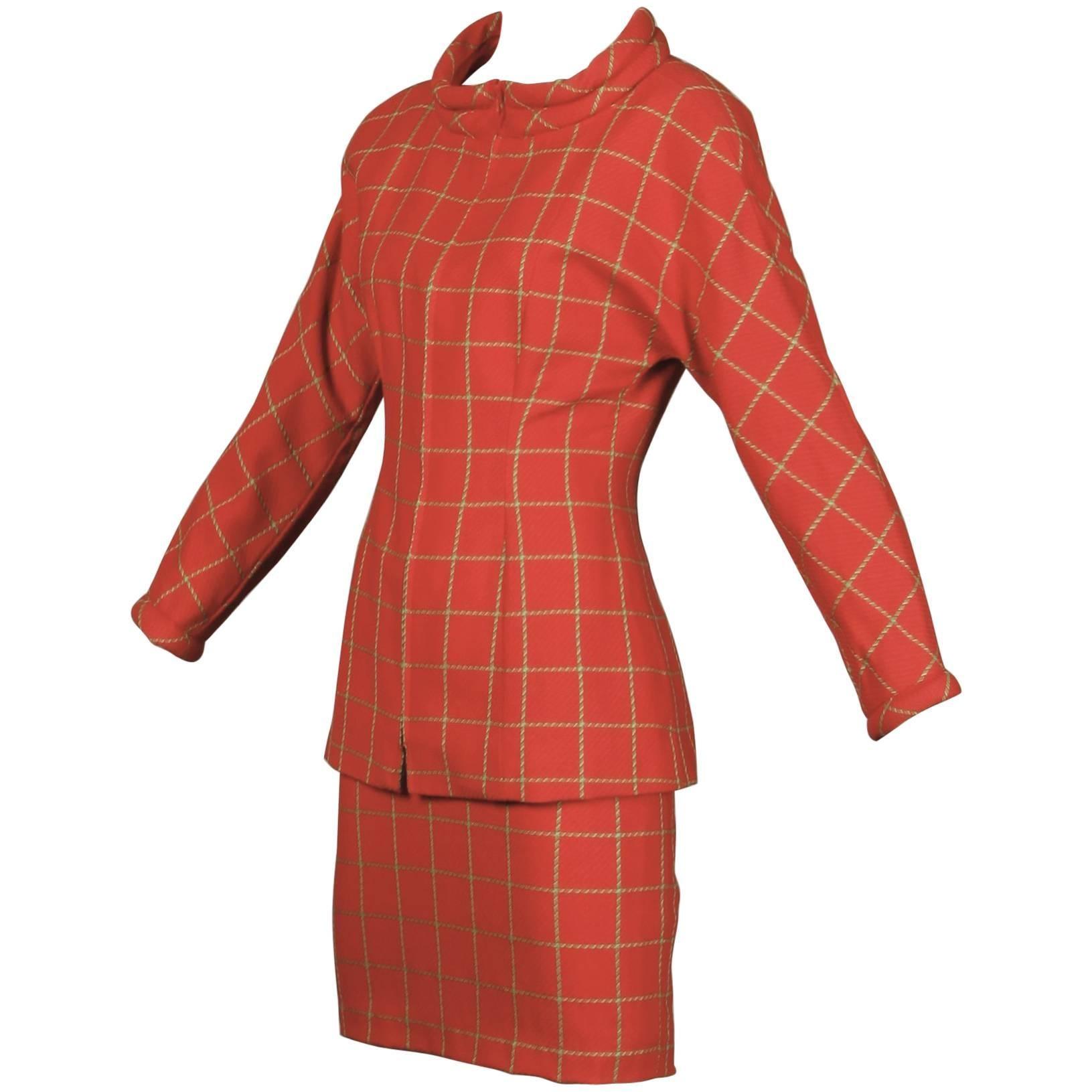 1980s Bernard Perris Vintage Wool/ Cashmere Jacket + Skirt Suit Ensemble
