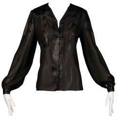 Giorgio Sant'Angelo 1970s Vintage Black Leather Patchwork Blouse, Top or Shirt