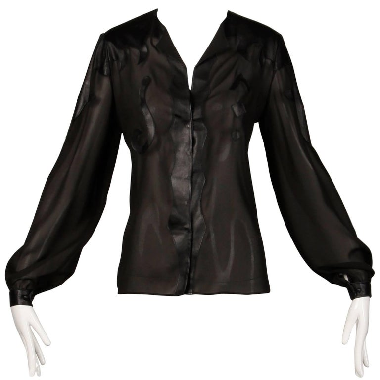 Giorgio Sant'Angelo 1970s Vintage Black Leather Patchwork Blouse, Top or Shirt For Sale