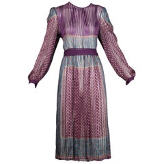 1970 Vintage Paper Thin Indian Print Silk Dress + Sash by The Silk Farm