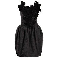 Vintage Lanvin 1980s Black Velvet Bows Strapless Cocktail Dress