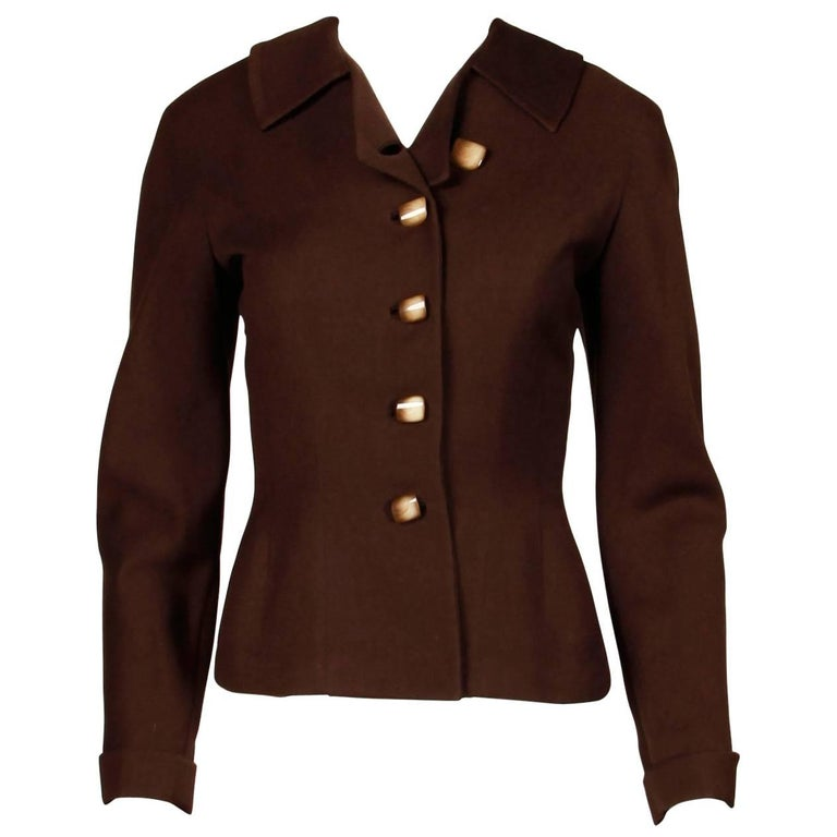 a62f9fde9e2a0 1950s Cari Colette Vintage New Look Brown Wool Tailored Jacket For Sale