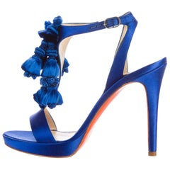 Versace New Royal Blue Satin Fringe Evening Heels Sandals in Box