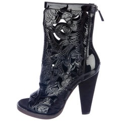 Balmain New Black Laser Cut Suede Heels Evening Ankle Booties