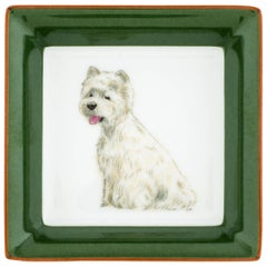 Hermes Porcelain White Green Terrier Dog Desk Table Trinket Dish Tray in Box