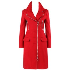 MOSCHINO Cheap & Chic Red Wool Side Zip Motorcycle Car Coat NWT
