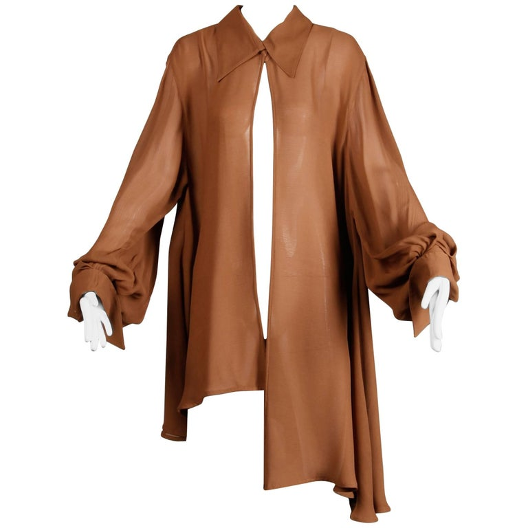 Claude Montana Vintage Avant Garde Brown Tunic Blouse or Duster Jacket, 1990s