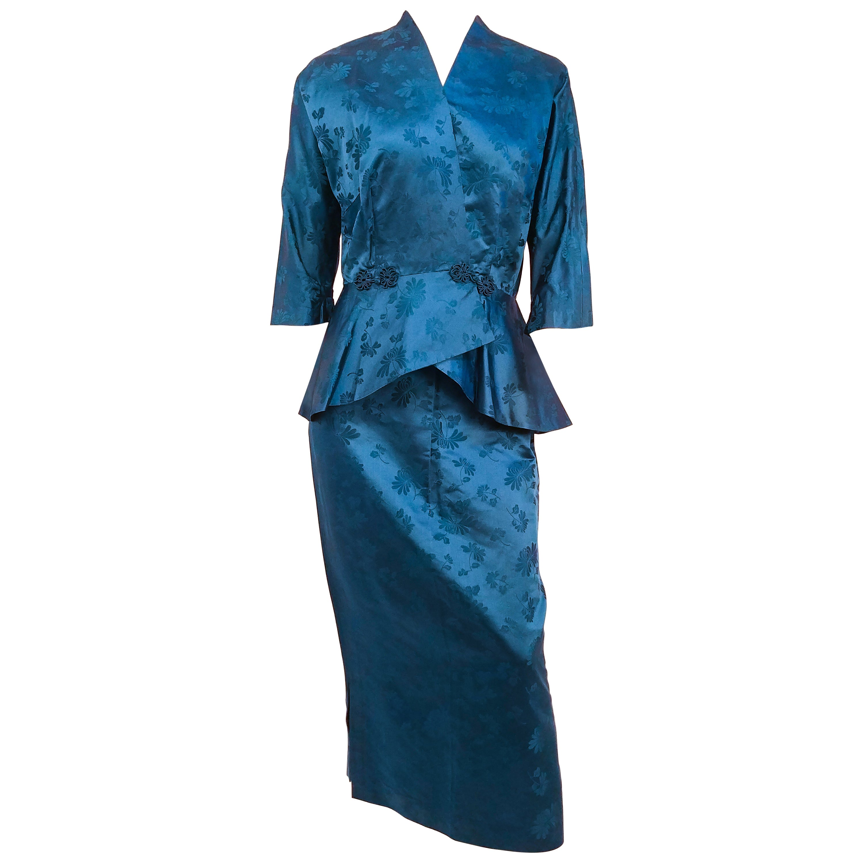 1950s Asian Silk Jacquard Skirt and Jacket Suit Set