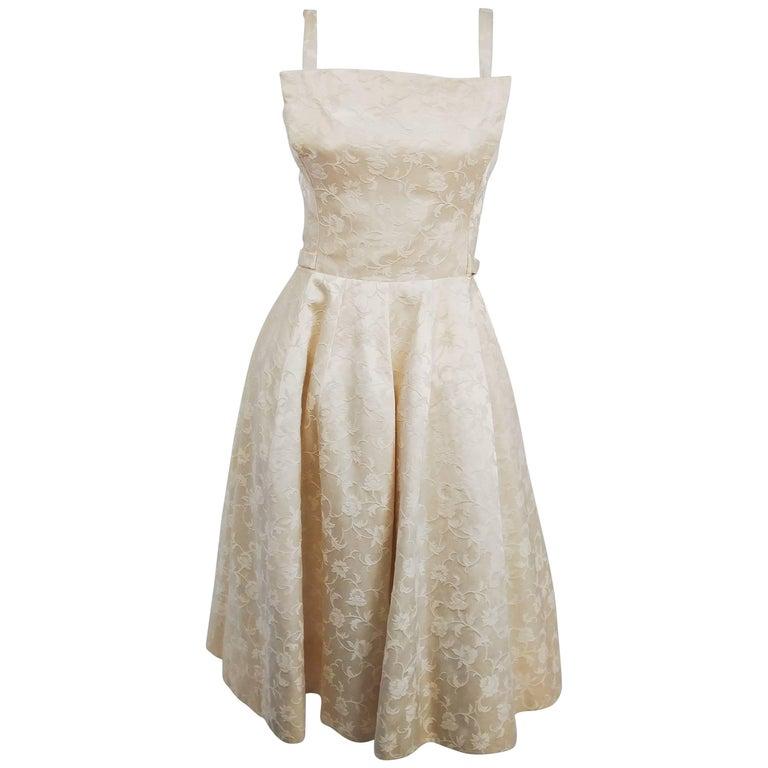 1950s White Jacquard Cocktail Dress For Sale