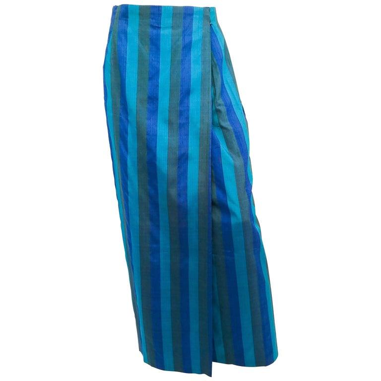 1960s Striped Silk Shantung Wrap Skirt
