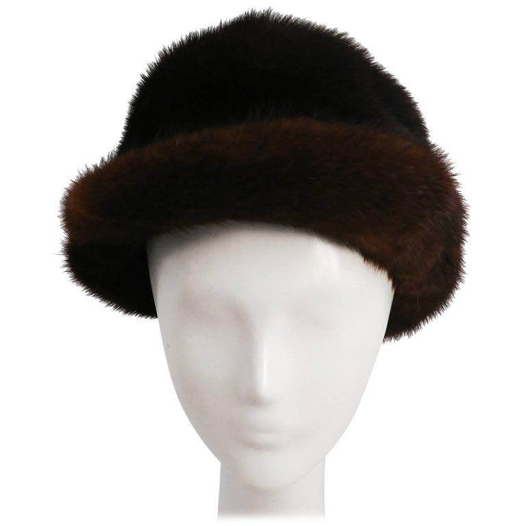 1960s Chocolate Brown Mink Hat For Sale