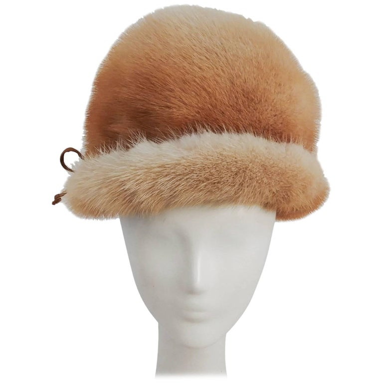 1960s Blonde Mink Cloche Hat For Sale