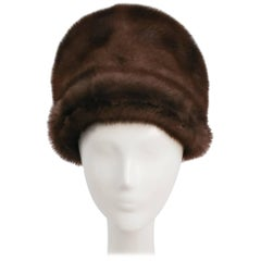 1960s Taupe Mink Cloche Hat
