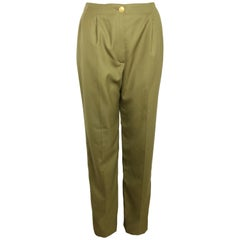 Chanel Army Green Wool Military Style Straight Leg Pants