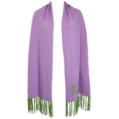 """Chanel Purple Cashmere """"CC"""" Scarf with Green Fringe"""