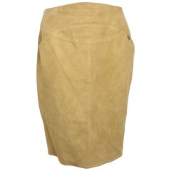 1999 Chanel Beige Suede Lambskin Leather Knee Length Pencil Skirt