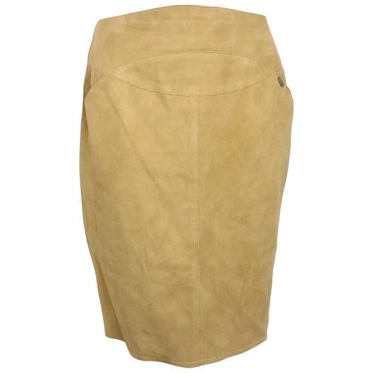 Chanel Beige Suede Lambskin Leather Knee Length Pencil Skirt  For Sale