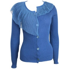 Jean Paul Gaultier Blue Wool Cardigan Sweater