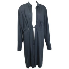 Y's by Yohji Yamamoto Black Long Cotton Coat