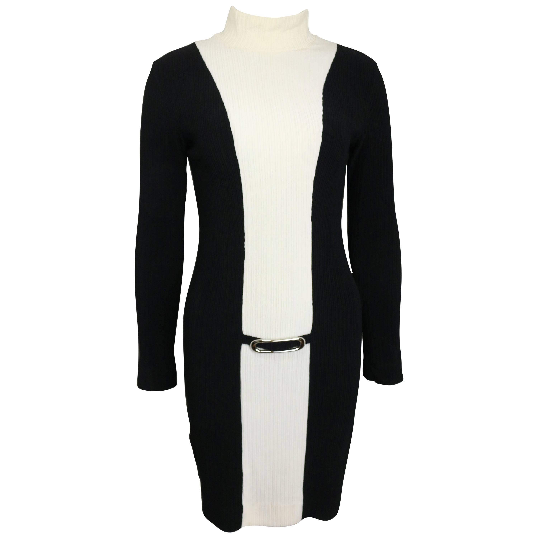 Retro Paco Rabanne Black and White High Neck Panel Dress