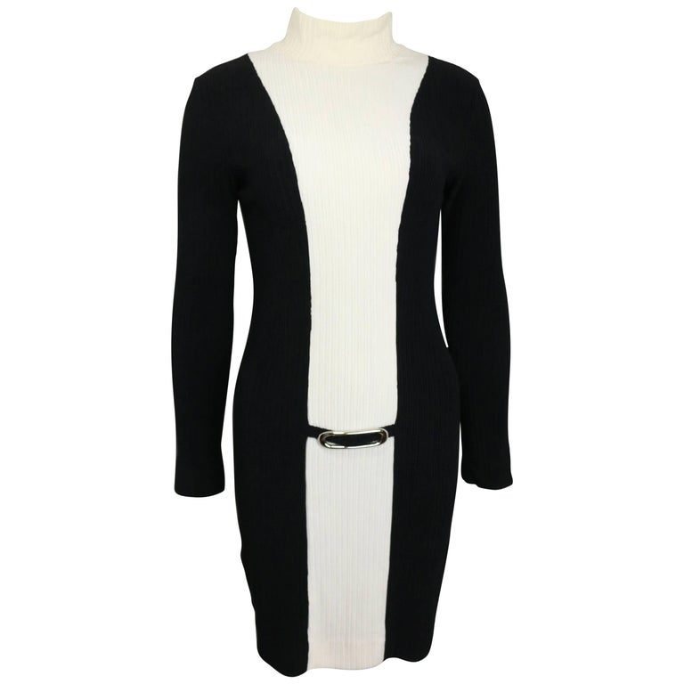 Paco Rabanne Black and White High Neck Panel Dress