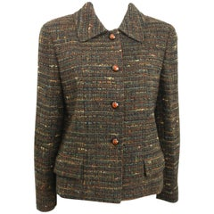 Chanel Brown Multi Colour Cropped Tweed Jacket