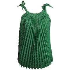 Issey Miyake Green Pleated Sleeveless Top