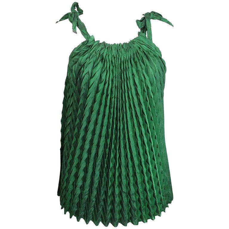 Issey Miyake Green Pleated Sleeveless Top