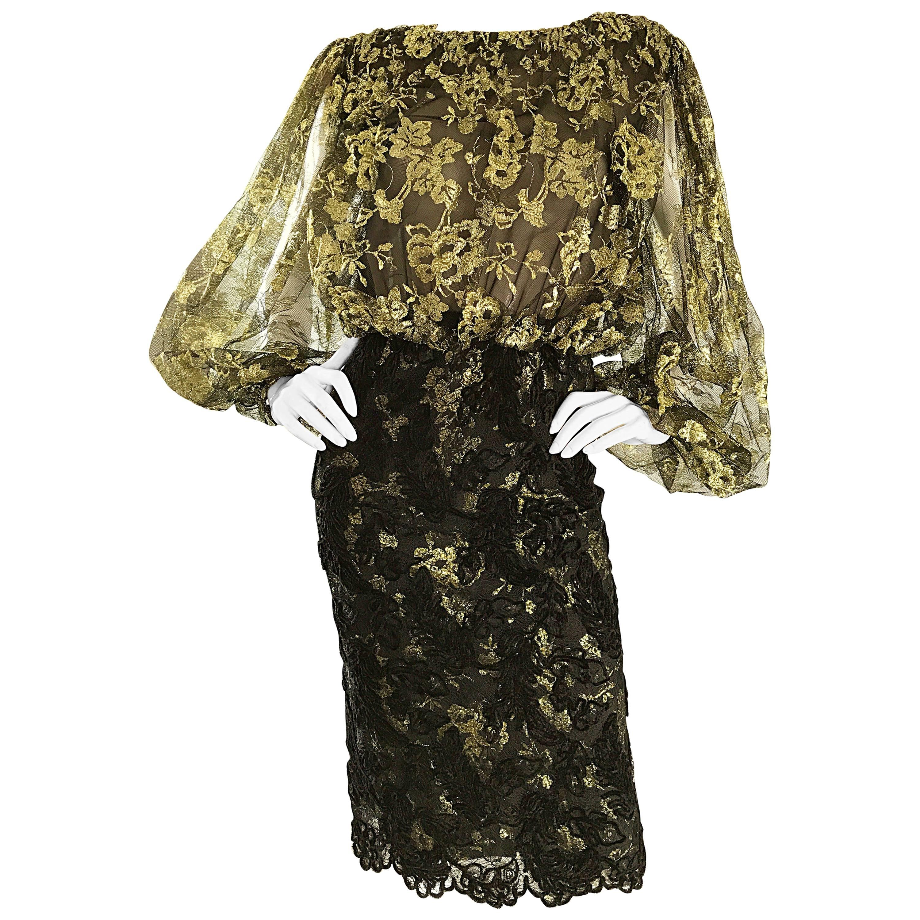 Bill Blass Vintage Gold and Black Size 6 Chantilly Lace Cocktail Dress