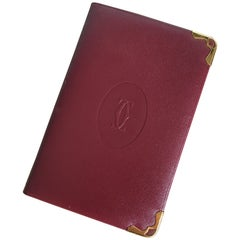 Cartier Le Must de New in Box Burgundy Cordovan Leather Pocket Size Address Book