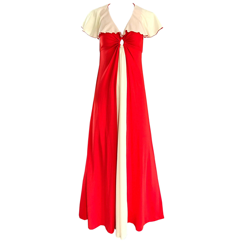 Giorgio di Sant Angelo 1970s Orange White Keyhole Vintage 70s Boho Maxi Dress