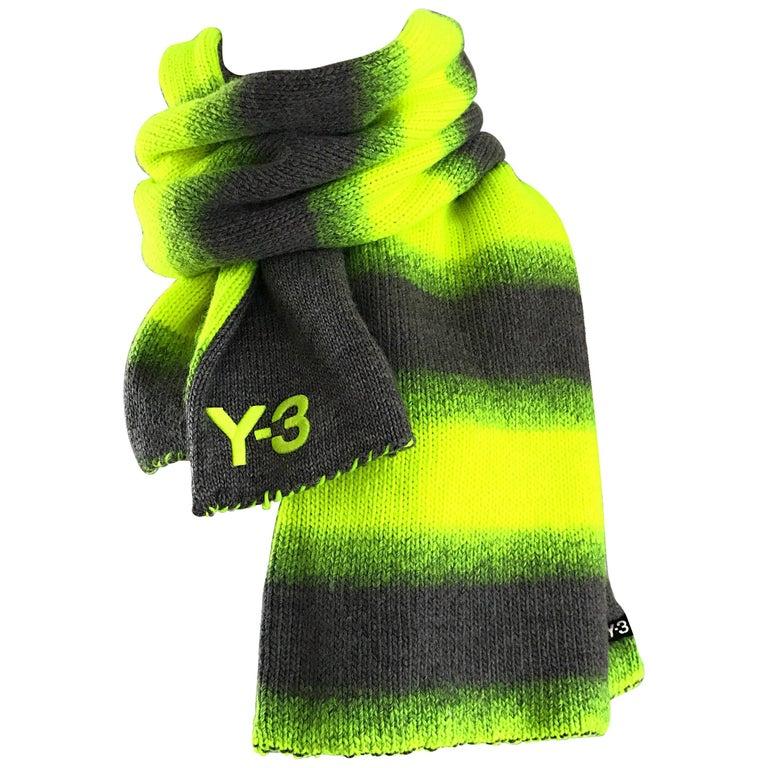 Yhjoji Yamamoto Y-3 Unisex Neon Yellow + Grey Oversized Wool Reversible Scarf For Sale