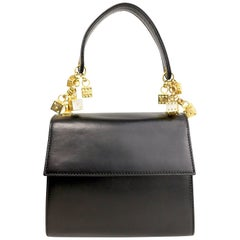 Escada Black Leather Gold Dices Flap Handbag