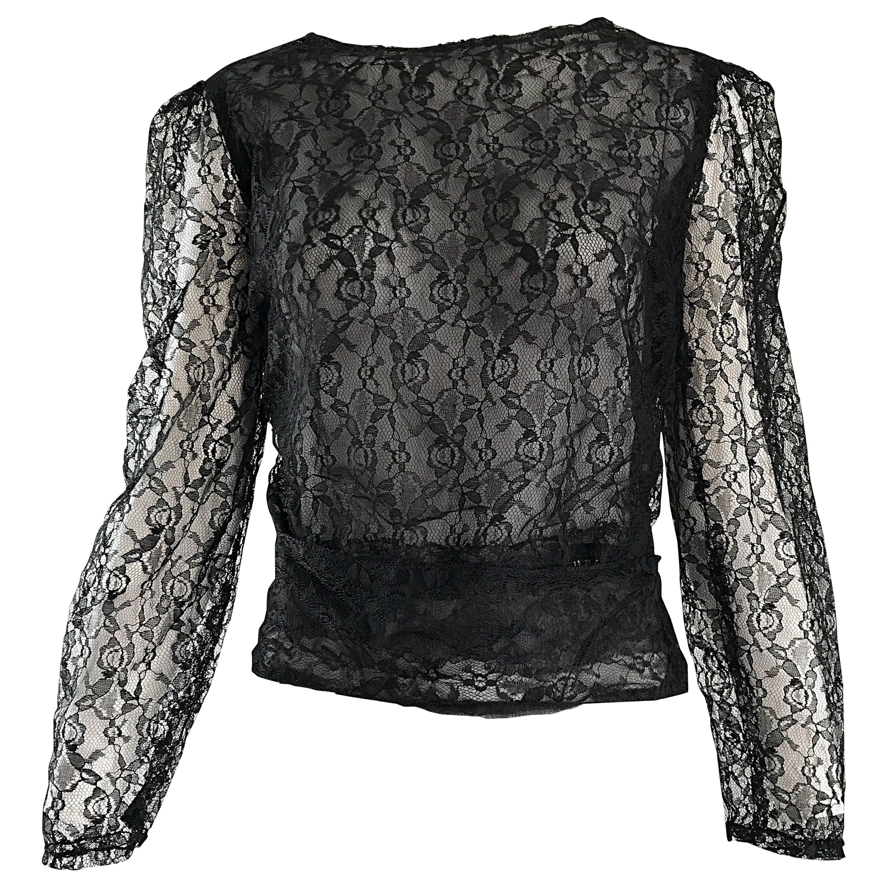 Arrtributed Vintage Chanel Couture Black Silk Chiffon Lace Sheer 90s Blouse Top