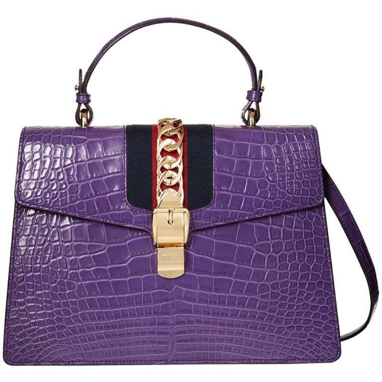 2016 Gucci Violet Cyclamen Alligator Leather Sylvie Top Handle Tote 1