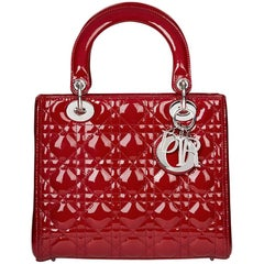 2012 Dior Deep Red Quilted Patent Leather Medium Lady Dior