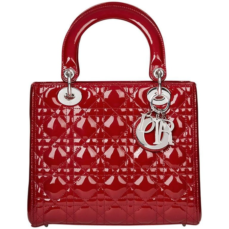 2012 Dior Deep Red Quilted Patent Leather Medium Lady Dior 1