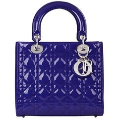 2015 Dior Blue Quilted Patent Leather Medium Lady Dior
