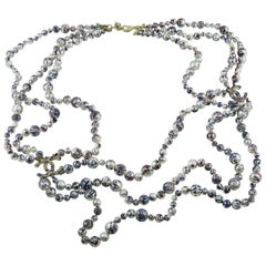 Chanel Fall 2013 Collectable Triple Strand Splatter Paint Pearl Necklace CC