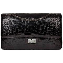 2011 Chanel Black Alligator Leather 2.55 Reissue 227 Double Flap Bag