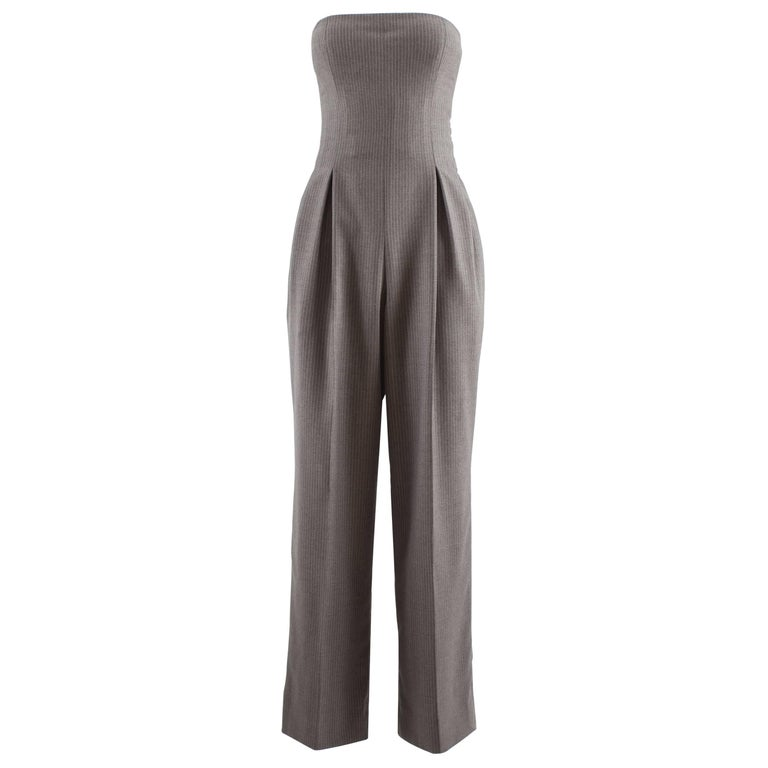 John Galliano for Givenchy Autumn-Winter 1996 grey pinstripe strapless jumpsuit
