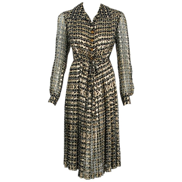 1975 Chanel Haute-Couture Metallic Black White Graphic Pleated Silk Belted Dress