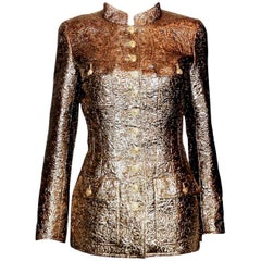 Museum Piece - Famous Chanel Golden Metallic 3D Structured Jacket Blazer