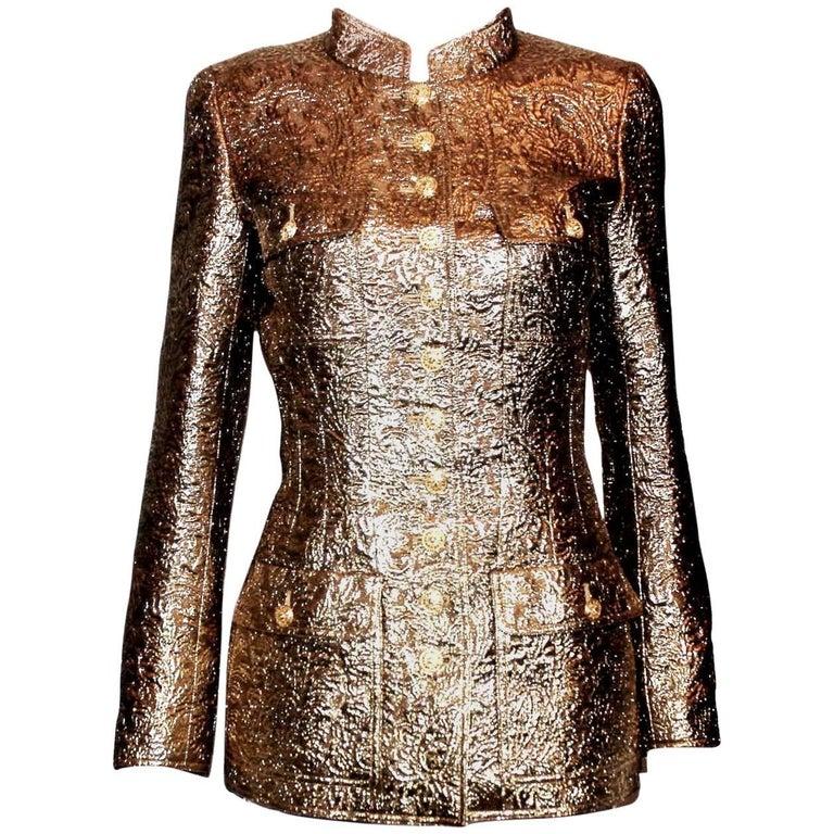 Chanel Golden Metallic 3D Structured Jacket Blazer