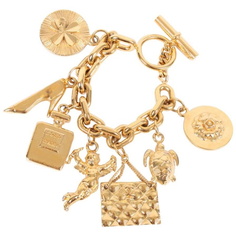 Chanel Xl Iconic Charms Chain Bracelet Vintage Gold At