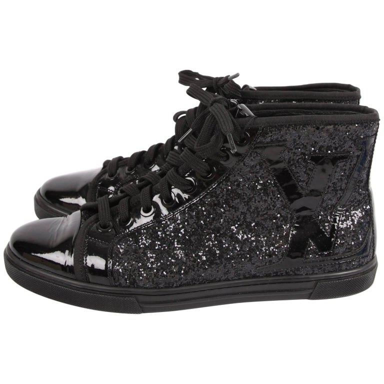 a5760d30730 Louis Vuitton Punchy Glitter Sneakers - black