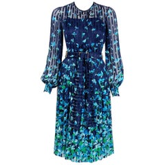 1974 Chanel Haute-Couture Blue Floral Illusion Silk Billow-Sleeve Belted Dress