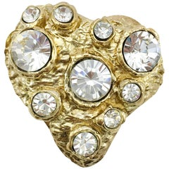 1980s Lacroix Crystal Embellished Gold-Plated Heart Brooch
