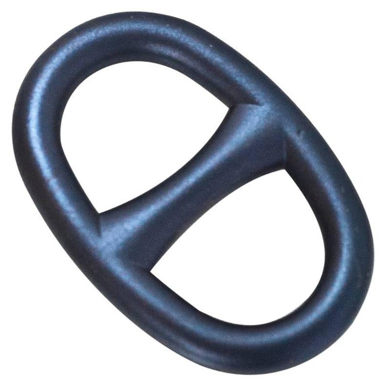Hermes Brushed Metallic Blue Chain d'Ancre Scarf Ring